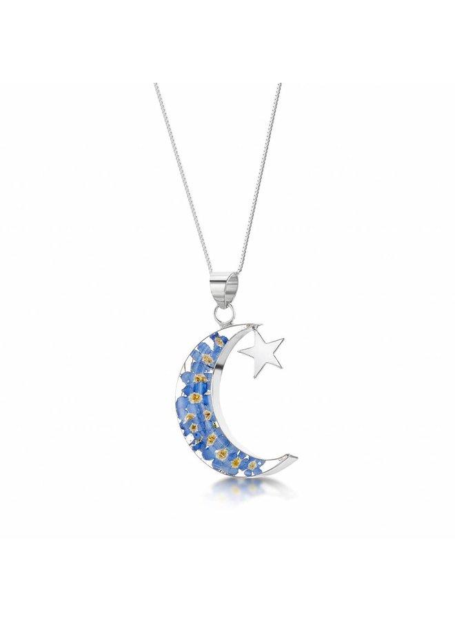 Mond und Stern Vergissmeinnicht Anhänger Silber