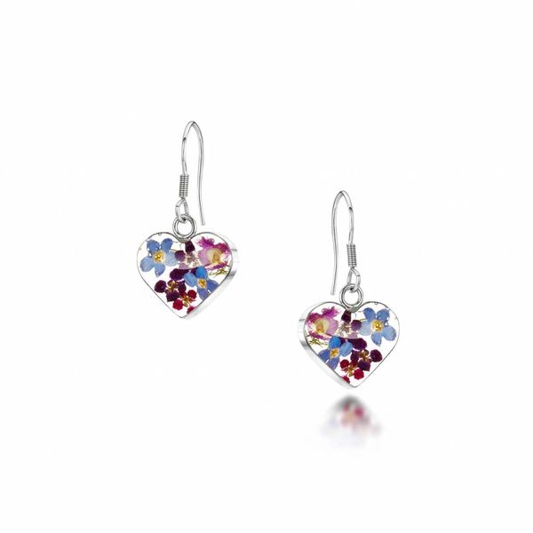 Heart drop purple haze earings silver
