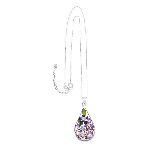 Teardrop large purple haze pendant silver