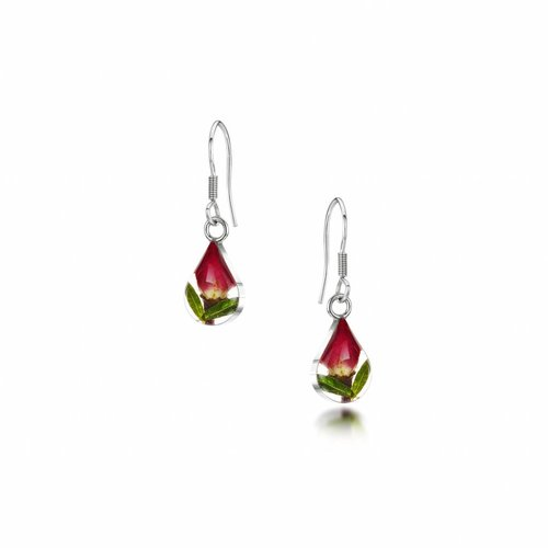 Shrieking Violet Teardrop Rose bud drop earrings silver