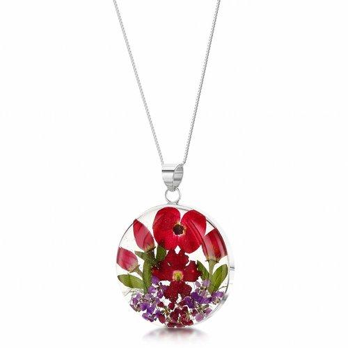 Shrieking Violet Round Poppy Rose large pendant silver