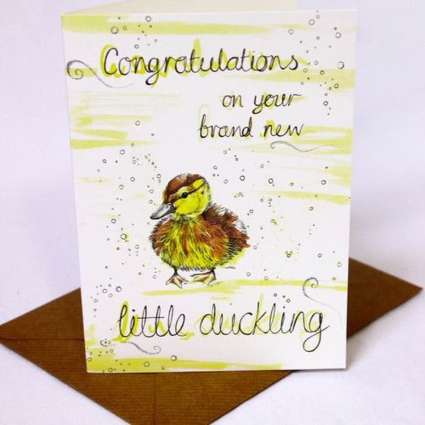 Congratulations on Little Duckling card 5 x 10 cm