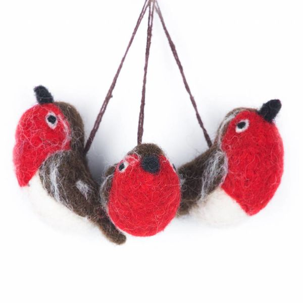 Felt 3 Baby Robins Ornament