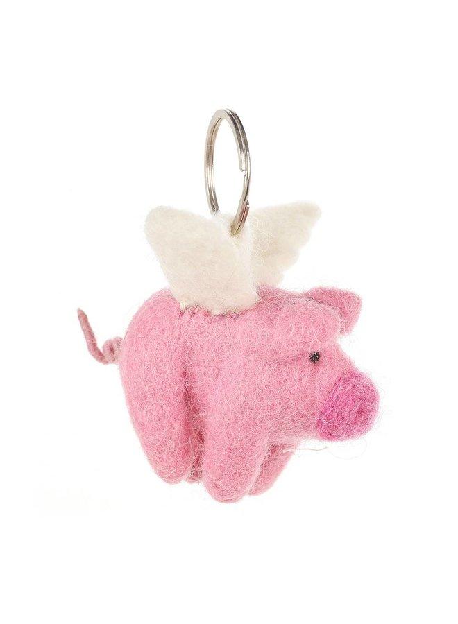 Felt Flying Pig Key Ring