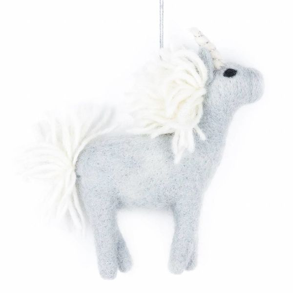 Felt Grey Unicorn Ornament