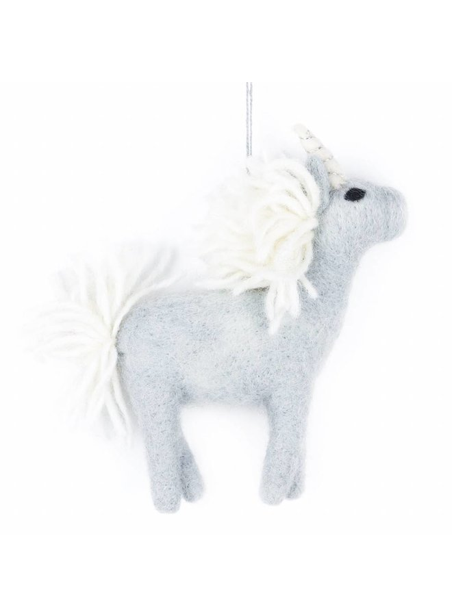 Felt Grey Unicorn Ornament