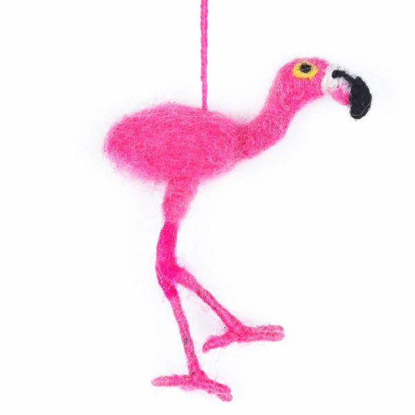 Felt Pink Flamingo Ornament