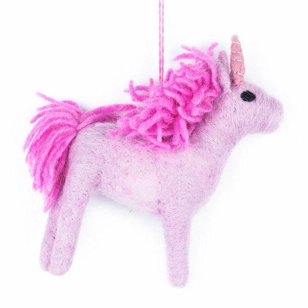 Felt Pink Unicorn Ornament
