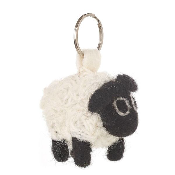 Felt Sheep Key Ring