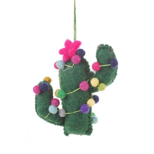 Felt So Good Felt Totem Pole Pink flower Cactus Ornament