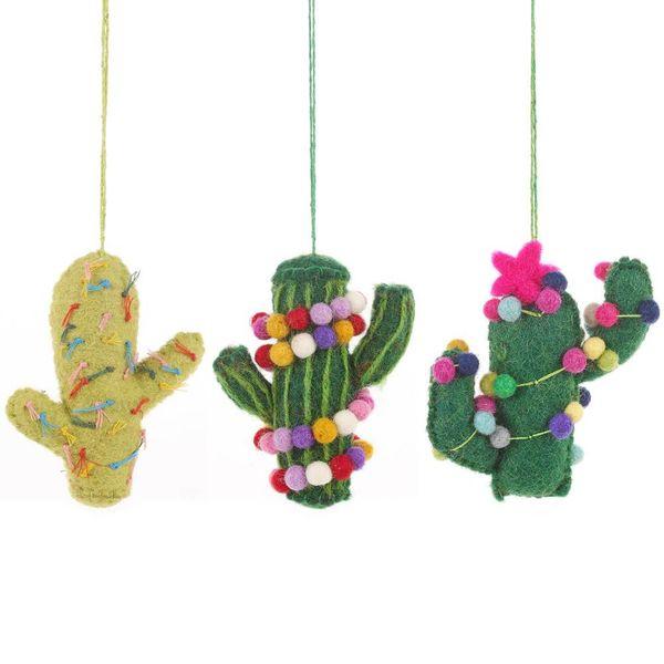 Felt Totem Pole Stripe Cactus Ornament