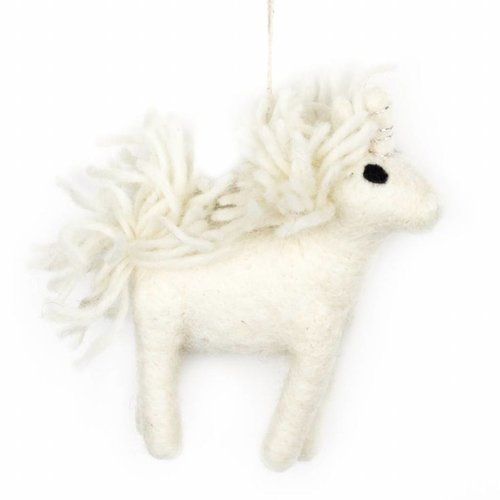 Felt So Good Felt White Unicorn Ornament
