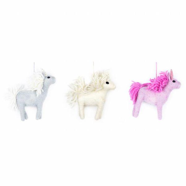 Felt White Unicorn Ornament
