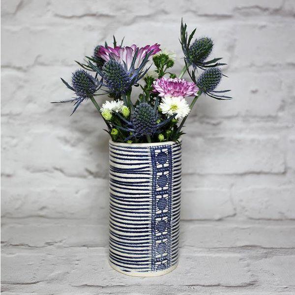 Liberty stripe posy vase