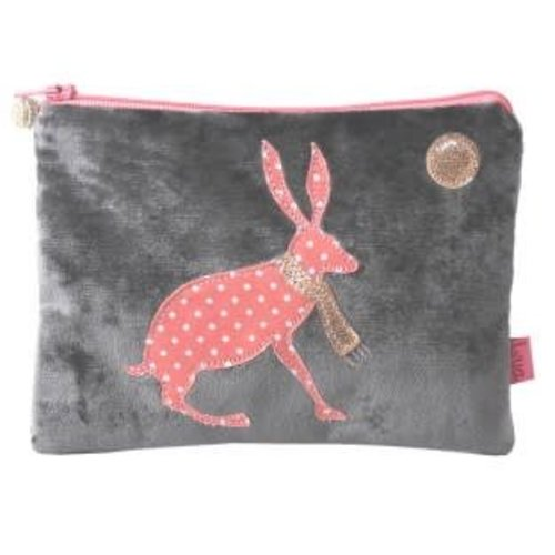 LUA Hare under moon velvet and applique purse