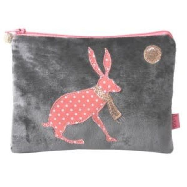 Hare under moon velvet and applique purse