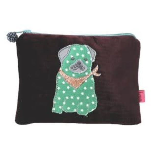 Pug dog velvet and applique purse