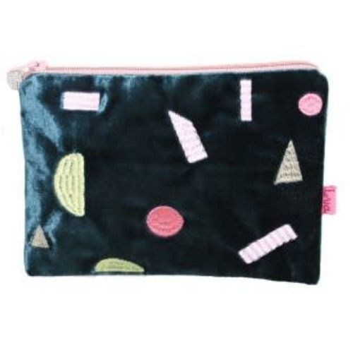 LUA Multi Geo Shapes velvet embroidered purse