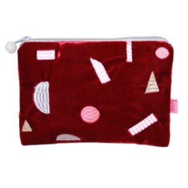 Multi Geo Shapes velvet embroidered purse