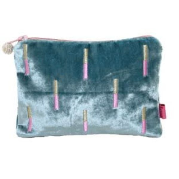 Embroidered and velvet Stick design purse