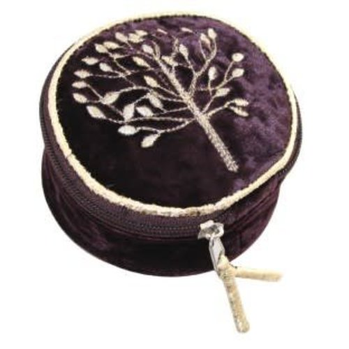 LUA Mulberry Tree round jewellery bag velvet and embroidered