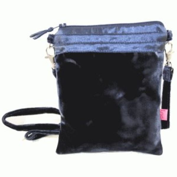 Velvet and silk purse on strap