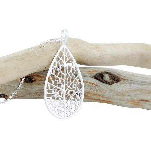 Reeves and Reeves Skeleton Leaf  silver Necklace