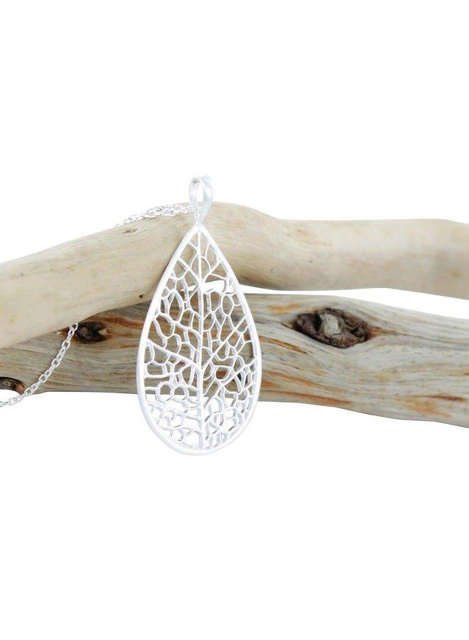 Skelettblatt Silber Halskette