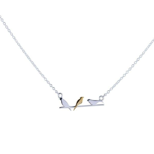 Birds on a Wire silver and gold necklace