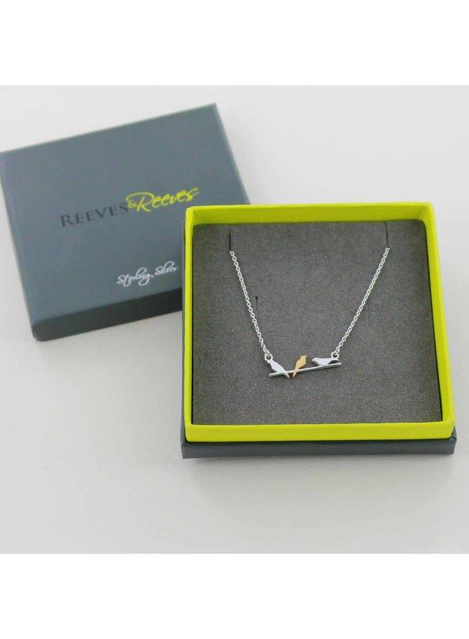 Vögel auf einem Draht Silber und Gold Halskette 44