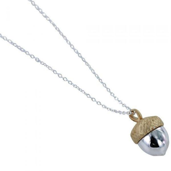 Acorn silver and gold necklace