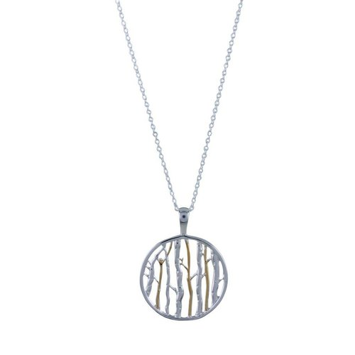 Reeves and Reeves Silver Birch silver and gold  necklace