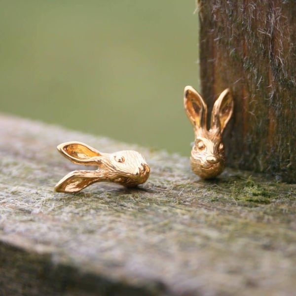 Hare rose gold stud earrings