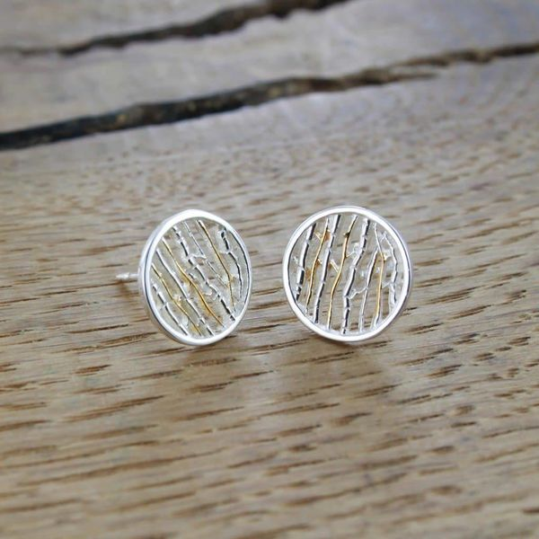 Silver birch silver and gold stud earrings 51