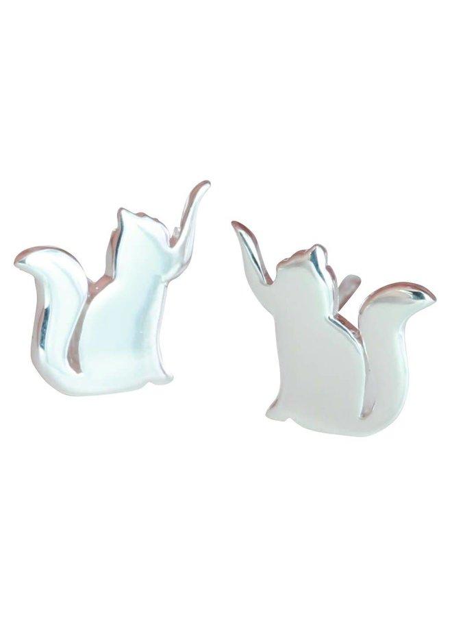 Cat stud silver earrings