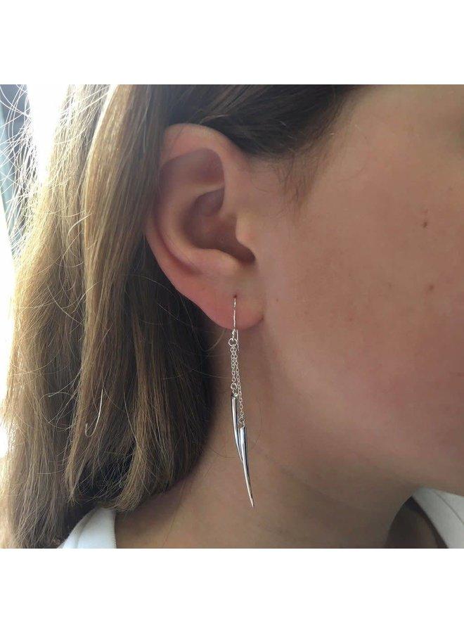 Tusk drop silver earrings