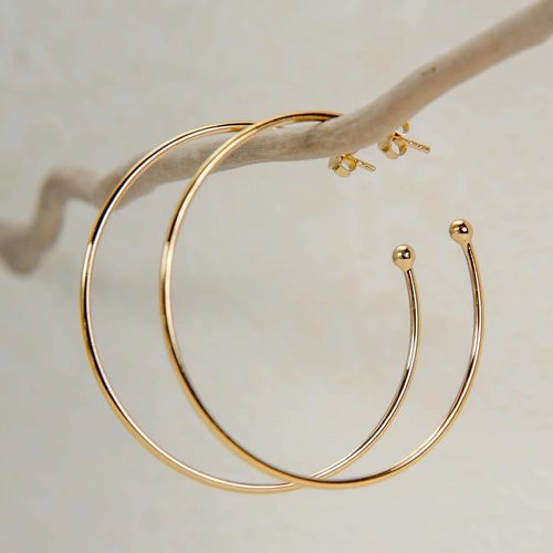 Reeves and Reeves Hoop rose gold large earrings
