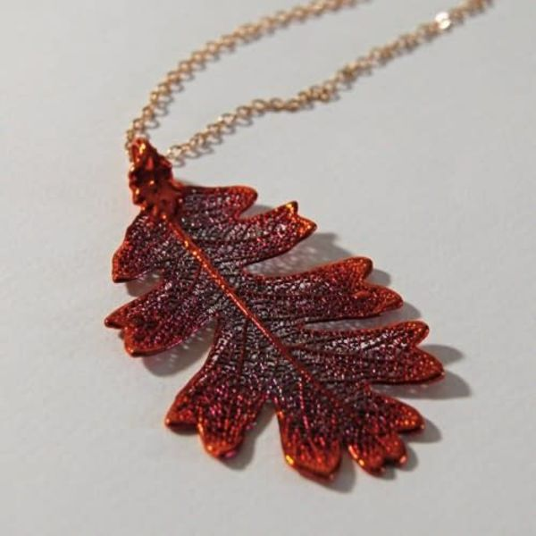 Oak leaf  Copper Rainbow pendant