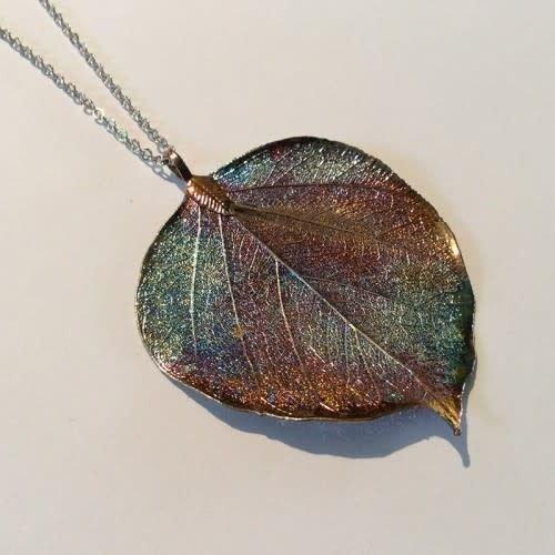 Roxburgh Bodhi leaf dark rainbow pendant