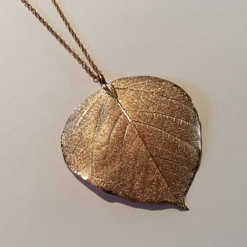 Roxburgh Bodhi leaf rose gold pendant