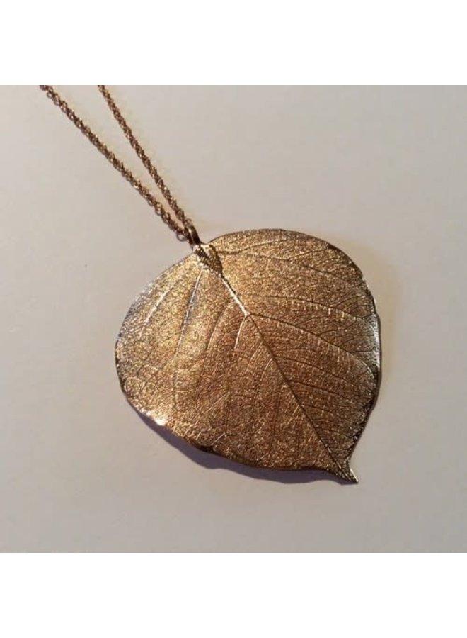 Bodhi leaf rose gold pendant