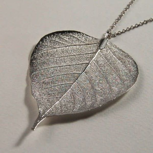 Bodhi leaf silver pendant