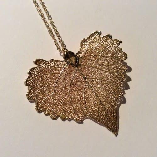 Roxburgh Cottonwood leaf rose gold pendant 05