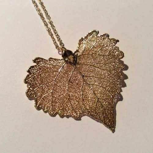 Roxburgh Cottonwood leaf rose gold pendant