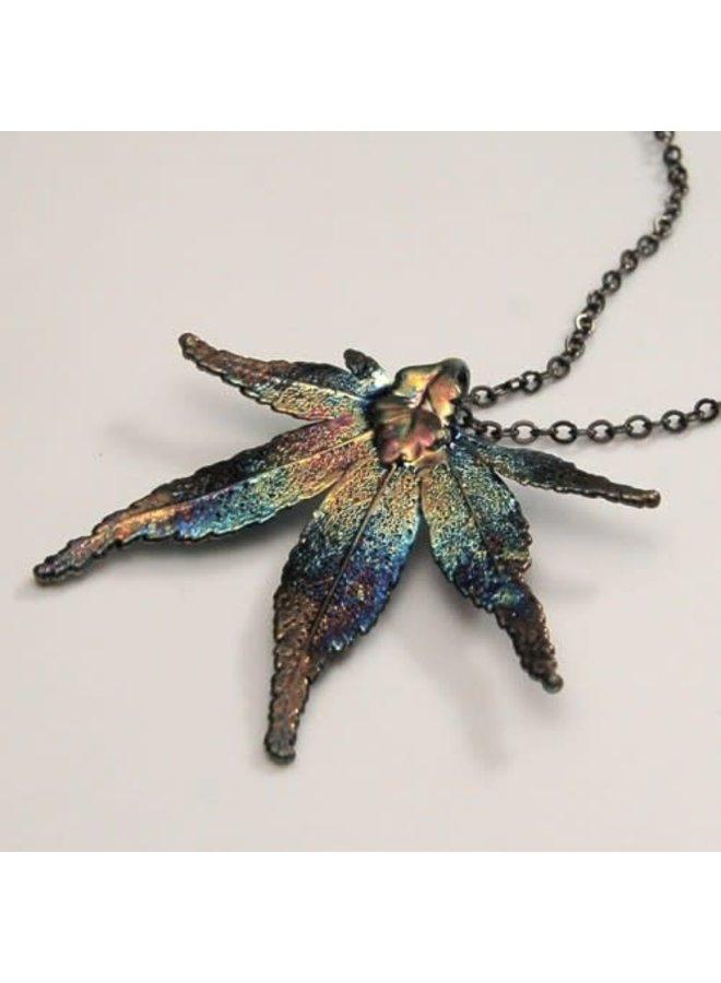 Maple leaf dark rainbow pendant