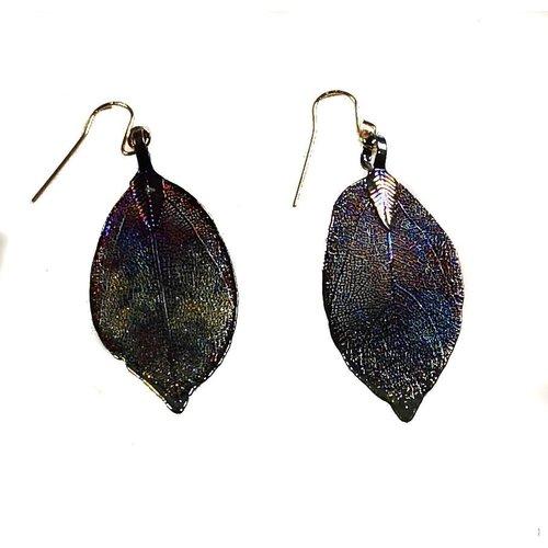 Roxburgh Magnolia leaf dark rainbow Earrings