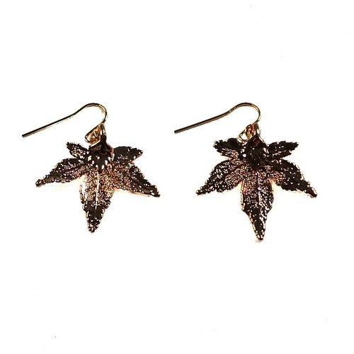 Roxburgh Maple Leaf Earrings Rose Gold
