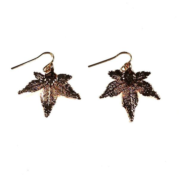 Maple Leaf Earrings Rose Gold