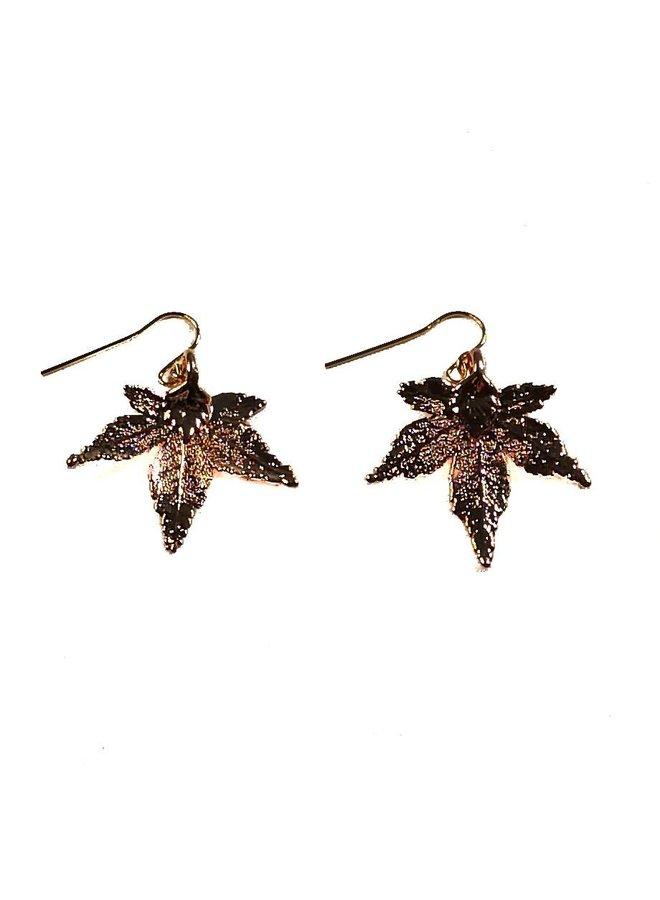 Maple Leaf Earrings Rose Gold