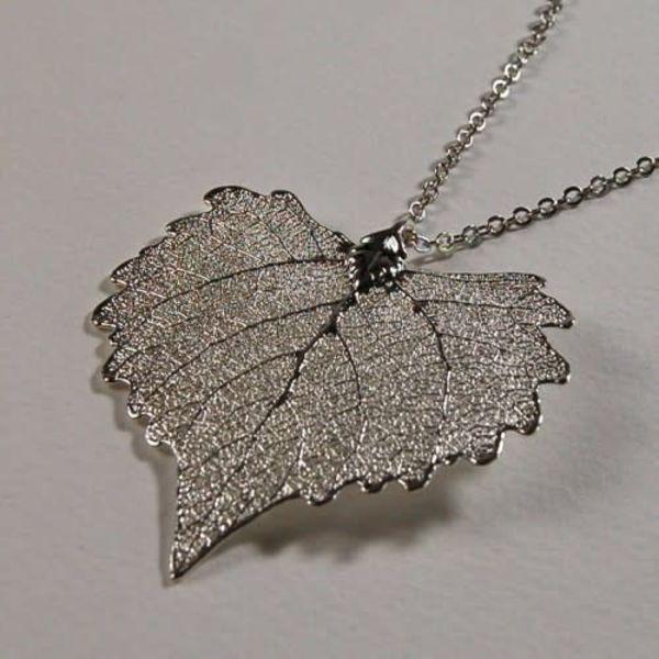 Cotton leaf silver pendant